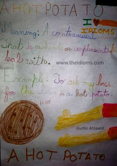 A hot potato idiom meaning with example, drawn by Gurlin Ahlawat for theidioms.com website.
