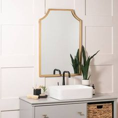 Polaris Large Framed Wall Mirror & Reviews | Joss & Main Gold Vanity Mirror, Tall Mirror, Leaning Mirror, Beveled Mirror, Bathroom Vanity Mirrors, Bedroom Mirrors, Master Bathroom, Set Of 4 Wall Mirrors, Frames On Wall