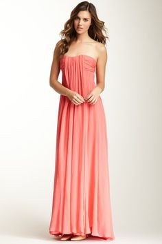 Halston Heritage Strapless Empire Waist Silk Gown