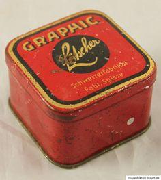 Kleine Stecknadeldose Blechdose Graphic Lötscher Stahlstecknadeln Vintage Tins, Pincushions, Boxes, Tin Lunch Boxes, Steel, Box, Cubbies, Boxing