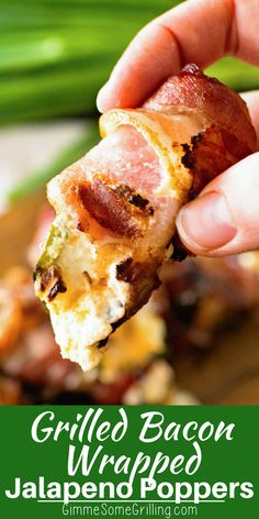 These Cheesy Grilled Bacon Wrapped Jalapeno Poppers are the perfect grilled appetizer! Delicious, fresh jalapenos are stuffed with a cream cheese mixture and seasonings then wrapped in bacon. Grill them until the bacon is crisp and the cheeses are melted! Grilled Stuffed Jalapenos, Cream Cheese Stuffed Jalapenos, Bacon Wrapped Jalapeno Poppers, Stuffed Jalapeno Peppers, Jalapeno Bacon, Grilling Recipes, Cooking Recipes, Traeger Recipes, Poppers Recipe