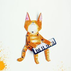 Articulated paper doll  Keyboard cat    DIY print set by lukaluka, $9.00