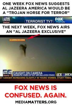 """Fox News suggests that Al Jazeera is """"terrorist TV,"""" and the next week uses Al Jazeera footage"""