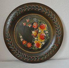 Bauernmalerei - Rustikaler Holz Teller - Blumen Motiv im Landhaus Deko Stil