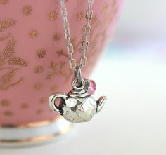 Teapot Necklace Silver Plated Charm Pink by JacarandaDesigns