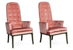 Pink High-Back Armchairs