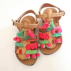 Ethnic baby leather sandals by Ilgattohandmade on Etsy