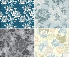 Retro floral patterns vector