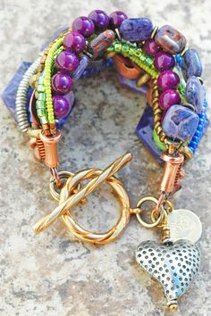Bracelet | Heart | Charm | Purple | Green | Copper | XO Gallery | lovin these colors....