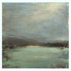 """S.P. Goodman.  Grey Lake in the Rain  Acrylic on panel.  18""""x18"""""""