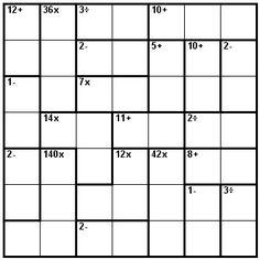 Number Logic Puzzles: 23608 - Kenken size 7