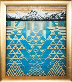 Krishna Aoraki Mt Cook painting with gold tukutuku by Sofia Minson Artwork Prints, Fine Art Prints, Maori Patterns, Geometric Symbols, Maori Designs, New Zealand Art, Nz Art, Maori Art, Mirror Art