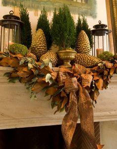 Gold Mantel Christmas Fireplaces Decoration Ideas