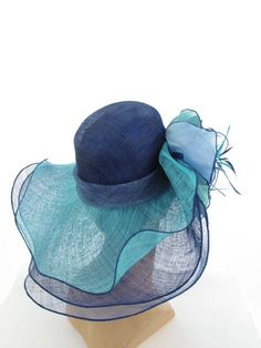 08eb5098158 Blue and Aqua Sinamay Wide Brim Hat Wide Brimmed Hats