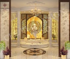 25 Latest & Best Pooja Room Designs With Pictures In 2020 This article highlights some of the simple and trending pooja room designs which looks good and ravishing with all types of home décor. Pooja Room Door Design, Home Room Design, Home Interior Design, Living Room Designs, House Design, Temple Room, Home Temple, Sas Entree, Temple Design For Home
