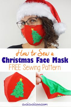 DIY Christmas Face Mask Pattern to Sew for FREE! - Cucicucicoo Christmas Diy, Christmas Decorations, Good Tutorials, Diy Gifts, Sewing Projects, Sewing Patterns, Handmade, Stitching Patterns, Hand Made