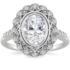 Oval Cut Alvadora Diamond Engagement Ring - 18K White Gold