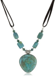 """Barse Sterling Silver """"Manuscript"""" Genuine Turquoise Sterling Pendant Necklace Leather Necklace"""