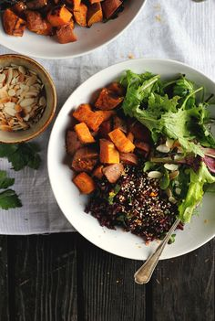 Spicy Roasted Sweet Potatoes with Fragrant Black Rice, Orange + Dates ⎮ happy hearted kitchen