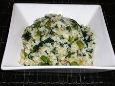 arroz con espinacas y espárragos trigueros
