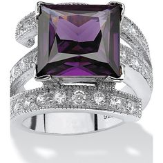 Palmbeach Jewelry 5.66 Tcw Princess-Cut Purple Cubic Zirconia Sterling... ($81) ❤ liked on Polyvore featuring jewelry, rings, purple, sterling silver swirl ring, cz rings, princess cut cz ring, sterling silver jewelry and swirl ring