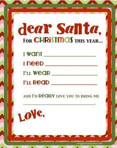 Dear Santa, Want, Need, Wear, Read