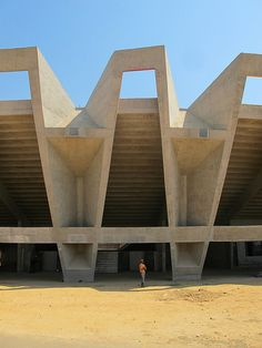 n-architektur: Ahmedabad_Cricket Stadium_Correa by carlo. Beautiful Architecture, Beautiful Buildings, Architecture Details, Interior Architecture, Brutalist Buildings, Modern Buildings, Stadium Architecture, Passive Design, Concrete Structure