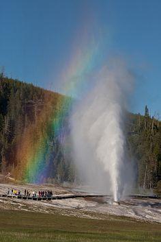 Beehive Geyser Rainbow. Old Faithful Geyser Basin, Yellowstone National Park, Wyoming.