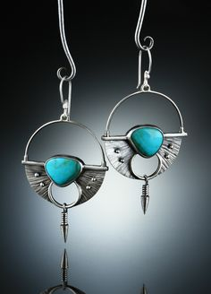 Turquoise Earrings. Fabricated Sterling Silver. www.amybuettner.com https://www.facebook.com/pages/Metalsmiths-Amy-Buettner-Tucker-Glasow/101876779907812?ref=hl https://www.etsy.com/people/amybuettner