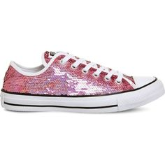 Converse All Star sequined canvas low-top trainers (£26) ❤ liked on Polyvore featuring shoes, sneakers, pink sequin sneakers, white canvas shoes, pink sneakers, canvas sneakers and white canvas sneakers