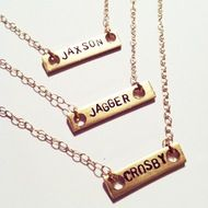 GageHuntly - Obsessed with her jewelry!  Stamped Bar Necklace