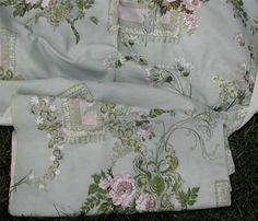 Vintage-Textile-Paris-Chic-Silk-Fabric-Pink-Roses-Ornate-Frames-Trailing-Flowers