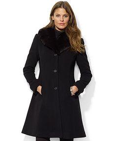 Lauren Ralph Lauren Faux-Fur-Collar A-Line Coat