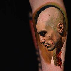 "Zoomed out Tattoo of Robert de Niro from the movie ""Taxi Driver"" by Nikko Hurtado Nikko Hurtado, Great Tattoos, Beautiful Tattoos, Amazing Tattoos, Time Tattoos, Body Art Tattoos, Tatoos, Back Tattoo, I Tattoo"