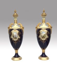 Magnificent Pair Of Tall Antique Coalport Vases (c. 1900 England)