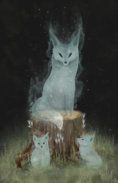 Spirit Animal Art Artworks 22 Ideas For 2019 Mythical Creatures Art, Magical Creatures, Mystical Animals, Cute Fantasy Creatures, Forest Creatures, Weird Creatures, Animal Drawings, Cute Drawings, Cute Fox Drawing
