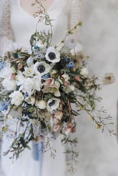 Spring White Anemone Bouquet | Rembo Gown via Rock The Frock Bridal | Powder Blue Spring Wedding Inspiration Styled by The Little Lending Co | Megan Duffield Photography
