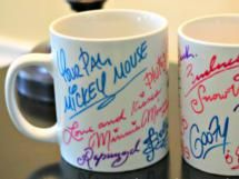 Great ideas for souvenirs from Walt Disney World Autograph mugs, pillowcase, tshirts, plate and picture frame!!