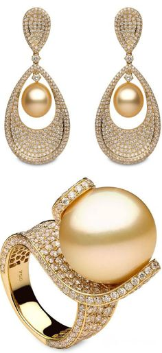 Golden South Sea Pearl, Diamond and 18K Yellow Gold Earrings and Ring