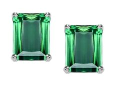 Original Star K(tm) 8x6mm Emerald Cut Simulated Emerald Earrings in 925 Sterling Silver