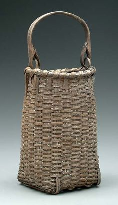 Oak split basket, bentwood handle