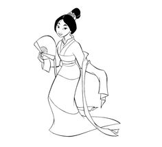 pictures a pretty mulan coloring pages