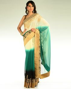 Ombre Shaded Sari in Green