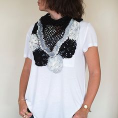 Knitted Shawl, Knit shawl, Crochet Shawl ,Crochet Scarf , Lace Shawl, Black and White Wrap