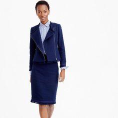 "We partnered with a fabric house in the Southwest of France to make the custom trim at the hem and cuffs of this polished tweed jacket. Even better: We also designed a matching skirt for more outfit potential.<ul><li>Tailored for a fitted look.</li><li>Body length: 21 1/2"".</li><li>Sleeve length: 30 1/2"".</li><li>Hits at waist.</li><li>Cotton.</li><li>Bracelet sleeves.</li><li>Zip pockets.</li><li>Lined.</li><li>Dry clean.</li><li>Import.</li></ul>"