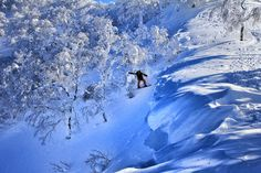 Hucking a small cornice off the top of Shiribetsu-Dake, Hokkaido, Japan. #snowboard #splitboard #backcountry
