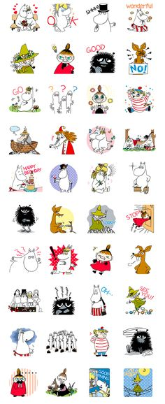 The happy and carefree Moomins are here in a LINE sticker set of huge proportions. Greet your friends in style with the whole Moominvalley crowd! Printable Stickers, Cute Stickers, Moomin Tattoo, Les Moomins, Moomin Valley, Baby Posters, Tove Jansson, Sketch Inspiration, Line Sticker