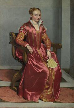 1558 Italian dress. I love her fan and jewelry