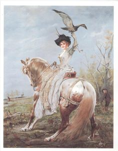 LADY SIDESADDLE - LADY DIANA HAWKING - ANDALUSIAN HORSE - NOT MATTED #Realism