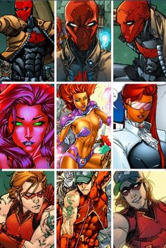 Red Hood (Jason Todd), Starfire (too lazy to spell name), Arsenal (Roy Harper)